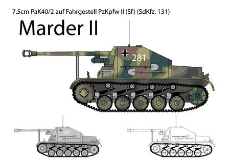 German WW2 Marder II tank destroyer Illustration
