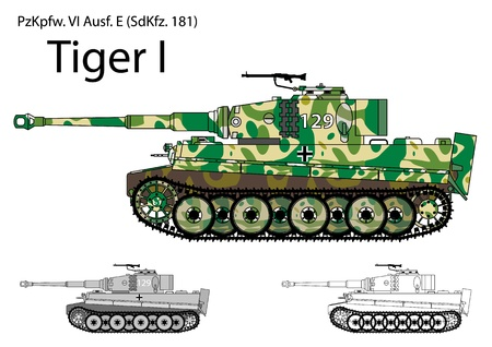 battle tank: German WW2 tanque Tiger con camuflaje de invierno primavera Vectores