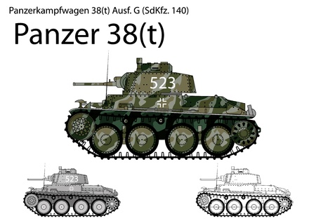 steel tanks: WW2 German Panzer 38 tanque ligero t Vectores