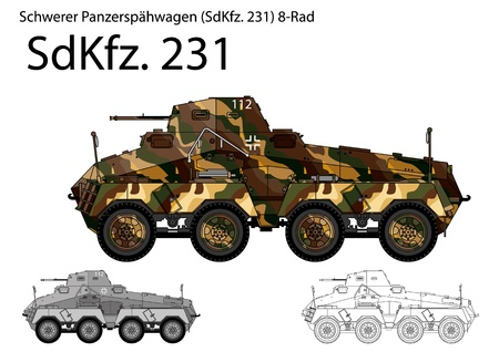 seconda guerra mondiale: WW2 German SdKfz 231 autoblindo Vettoriali