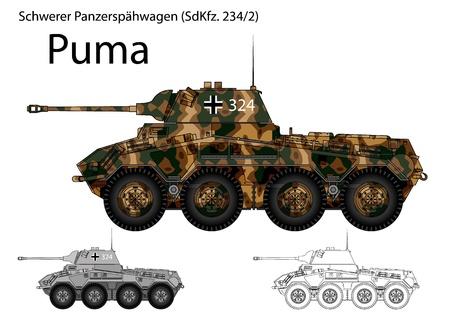 armored car: WW2 German SdKfz  234 2 Puma armored car Illustration