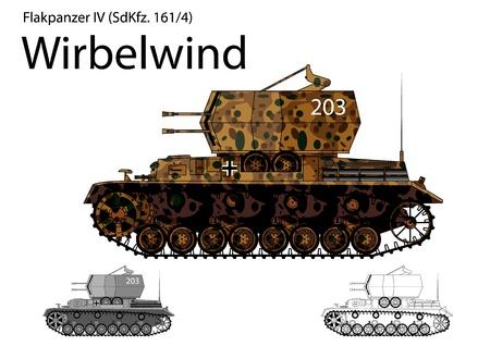 WW2 German Wirbelwind self propelled anti-aircraft vehicle  Illustration