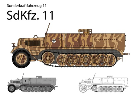 WW2 German SdKfz  11 troop transport and general purpose half track