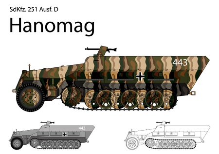 WW2 German SdKfz  251 D troop transport and general purpose half track
