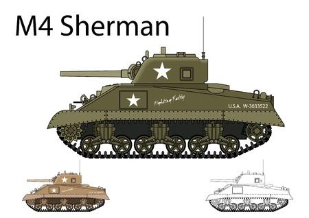 tanque de guerra: Americano WW2 M4 Sherman tanque medio