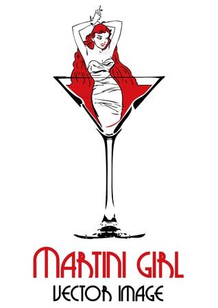 Martini dziewczyna stoi w szklance