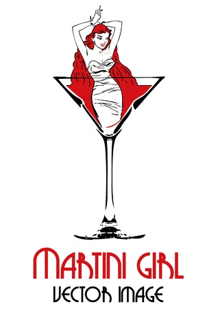 Martini girl standing in a glass