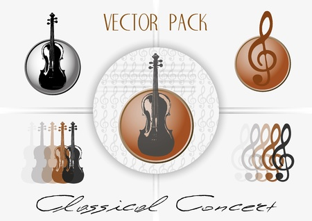 clefs: Vector marks with violins and treble clefs