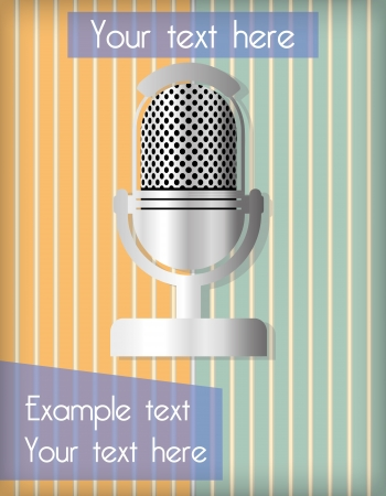 Striped wallpaper in orange and green, with an old microphone Illustration