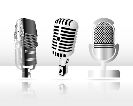 Vintage microphone collection Illustration