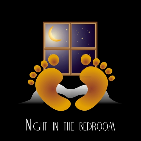 Night in the bedroom vector art Vector