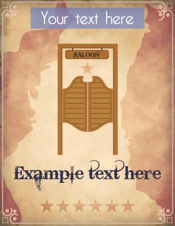 Poster with saloon door Vector
