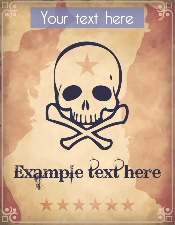 Western style poster with a human skull and crossed bones Vector