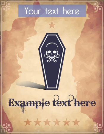 Western style poster with a black coffin and a human skull Vector