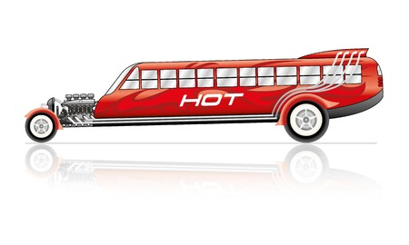 Vector Hot Rod bus with flames and text Illustration