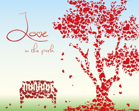 A tree and a bench made out of hearts Vector