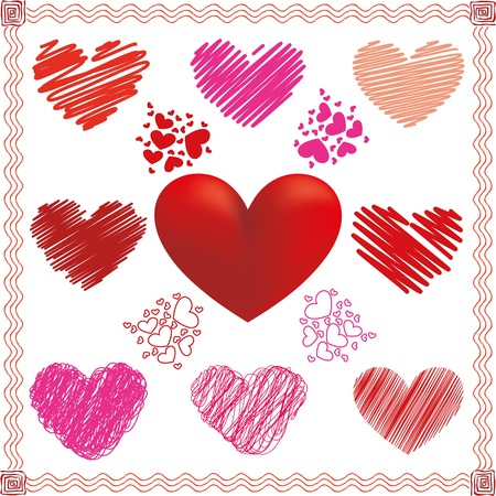 Collection of vector hearts in different color and fill
