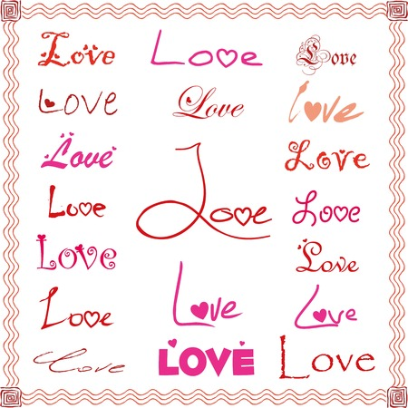 Vector love texts with heart elements in different colors Illustration