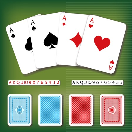 backside: Vector poker card set with numbers and backside decorations in different colors