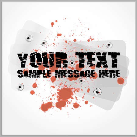 Distorted text with blood spatter on a metallic background with gunshot holes