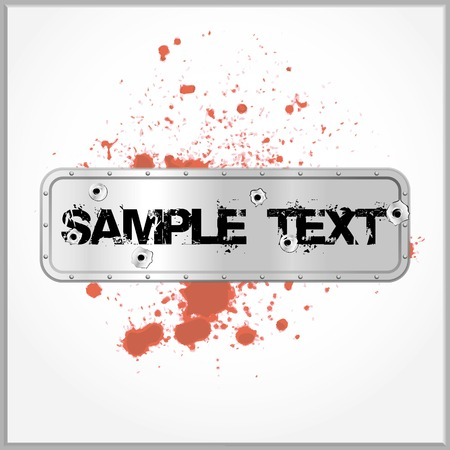 Distorted text with blood spatter on a metallic background with gunshot holes Vector