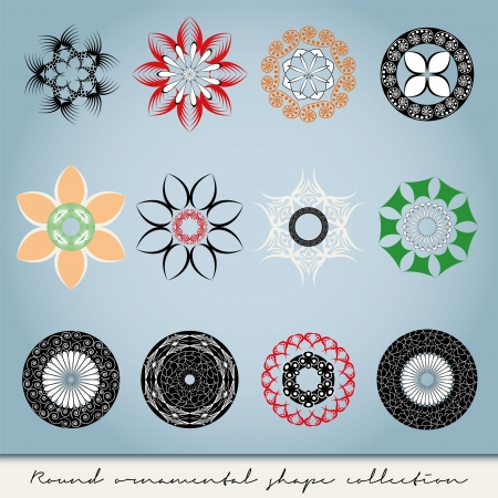 Round ornamental vector shape collection in different colors Illustration