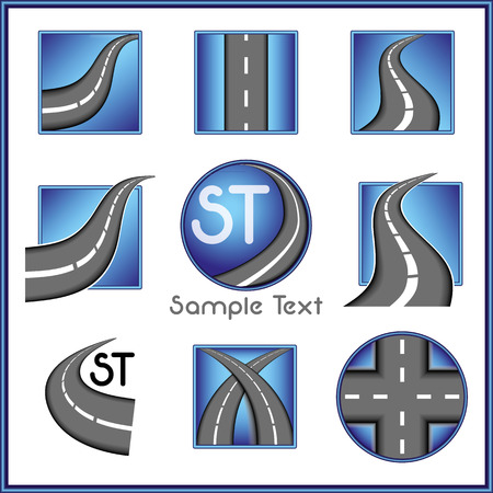 Road and direction related vector mark collection in blue color Vector
