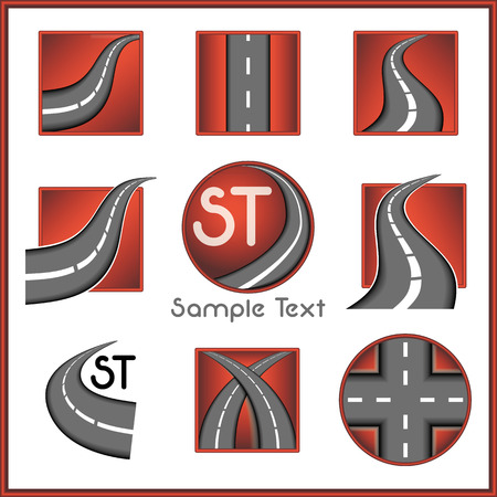 Road and direction related vector mark collection in red color