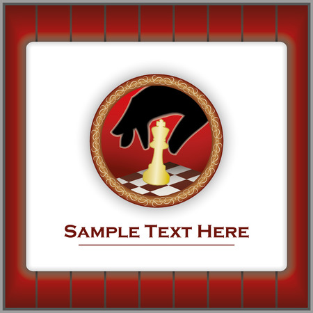 Vector mark with a silhouette of a hand moving a chess figure, in ornamental frame and possibility of adding custom text Vector