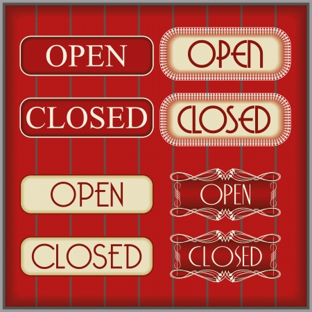 Elegant open and close signs on dark brown background Vector