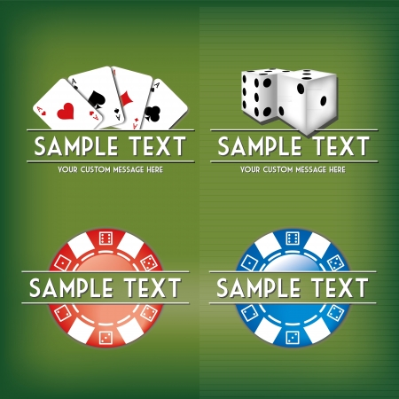 Card and casino related vector mark collection with chips, dices, cards and place for Your custom text Vector