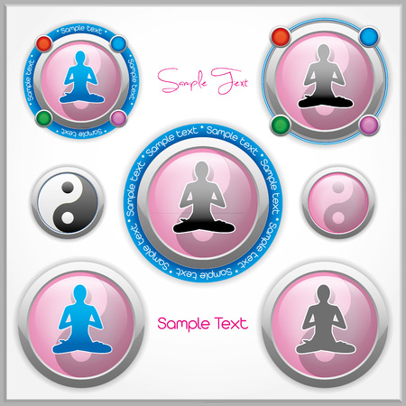 Shiny vector mark collection with a woman in lotus position and the Yin and Yang symbol, and with place for Your custom text