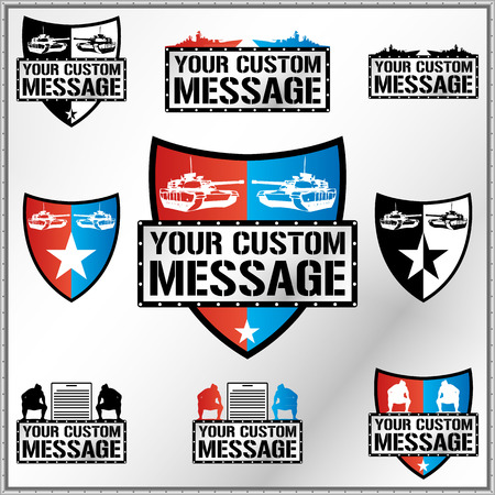 Shield illustration with tanks, battleships ans sumo fighters with space for Your custom text Vector