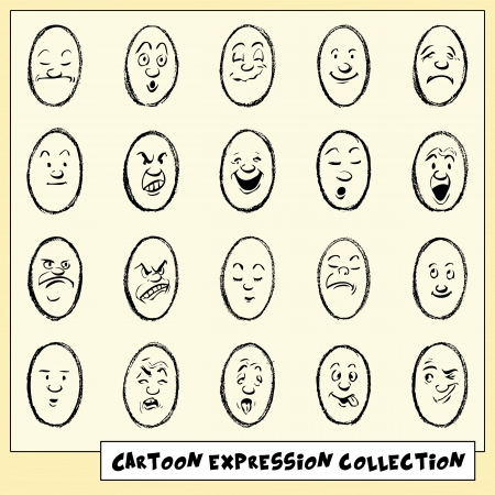 Collection of twenty funny hand drawn cartoon face expressions