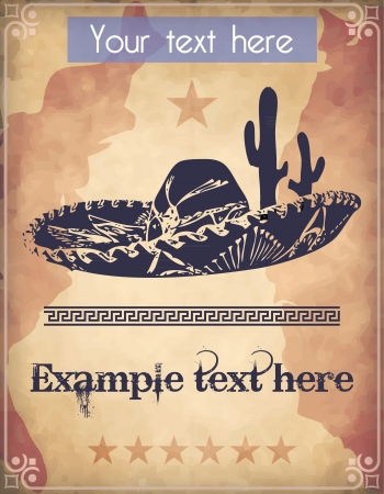 Western style poster with sombrero, cactus and text Vector