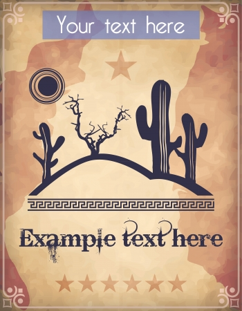 ranch background: Western style poster with desert scene and text
