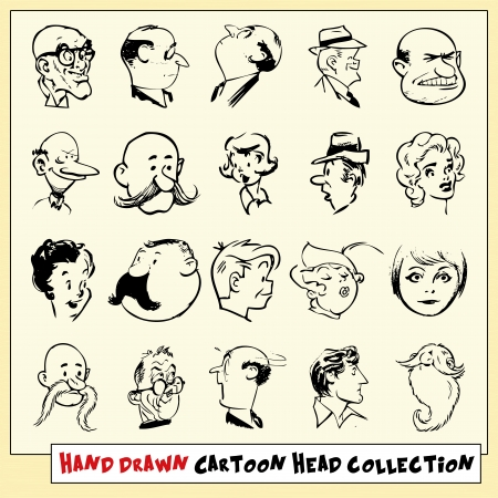 Collection of twenty hand drawn cartoon heads in black, isolated on light yellow background Illustration