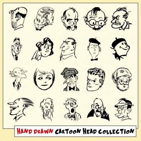 angry look: Collection of twenty hand drawn cartoon heads in black, isolated on light yellow background Illustration