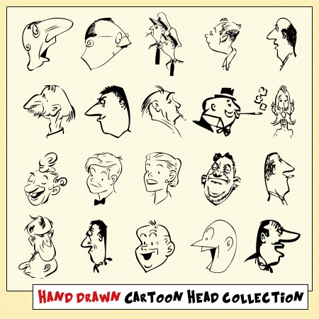 Collection of twenty hand drawn cartoon heads in black, isolated on light yellow background Stock Vector - 22487099
