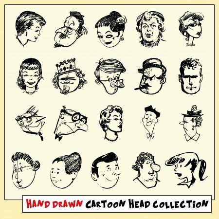 rey caricatura: Colección de veinte cabezas de dibujos animados dibujados a mano en negro, sobre fondo amarillo claro