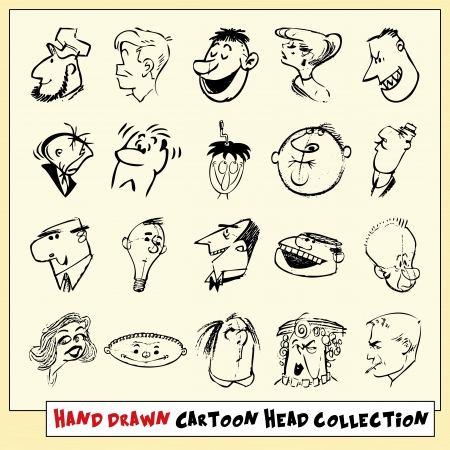 Collection of twenty hand drawn cartoon heads in black, isolated on light yellow background Stock Vector - 22487101