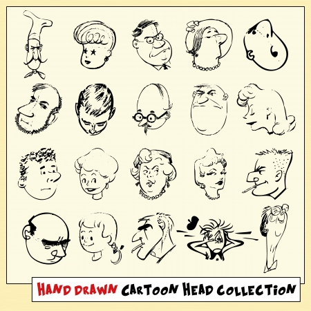 Collection of twenty hand drawn cartoon heads in black, isolated on light yellow background Vector