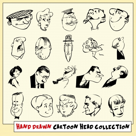 Collection of twenty hand drawn cartoon heads in black, isolated on light yellow background Stock Vector - 22487104