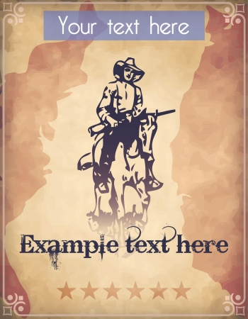 Western style poster with a cowboy riding his horse while grabbing his rifle