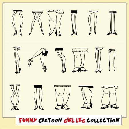 zapatos escolares: Por divertida dibujada colecci�n pierna ni�a de dibujos animados sobre fondo amarillo claro