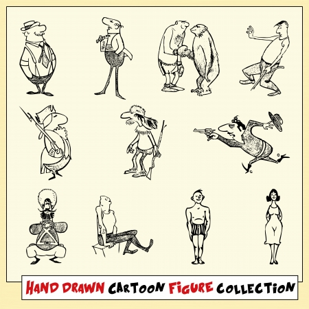 russian man: Hand drawn cartoon figure collection in black on light yellow background