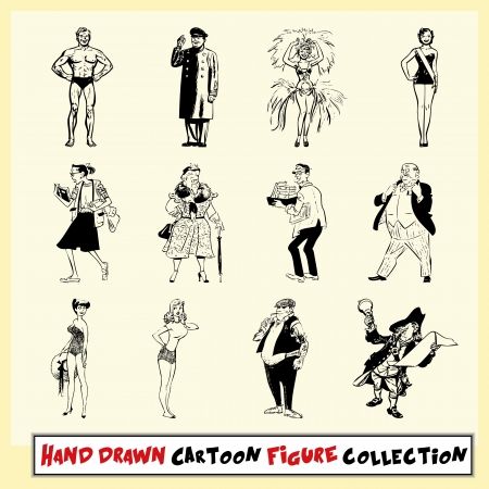 Hand drawn cartoon figure collection in black on light yellow background