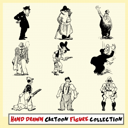 motor officer: Hand drawn cartoon figure collection in black on light yellow background
