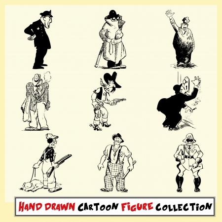 policia caricatura: Mano colecci�n figura de la historieta dibujada en negro sobre fondo amarillo claro Vectores