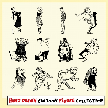 Hand drawn cartoon figure collection in black on light yellow background Stock Vector - 22487130